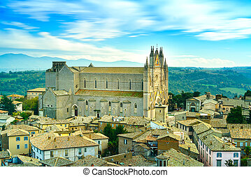Orvieto medieval Duomo cathedral church and old village...