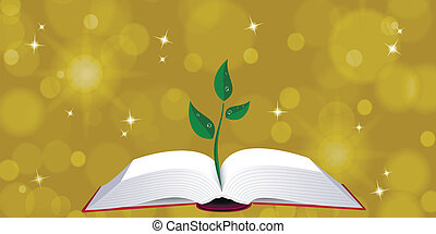 Open book with tree sprout - llustration of open book with...