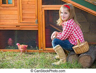 criador, gallinas, niño, niña, ranchero,...