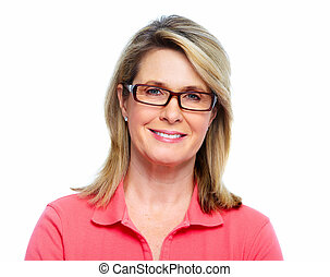 Senior woman with eyeglasses - Senior woman with eyeglasses...