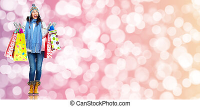 Girl with shopping bags. Christmas sale. - Beautiful Girl...