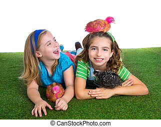 breeder hens kid sister farmer girls playing funny with...