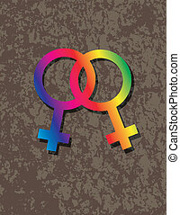 Female Lesbian Gender Symbols Interlocking Illustration -...