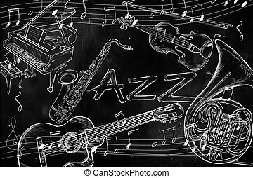 Jazz instruments music background on dark blackboard