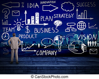 Businessman looking at Innovation plan. Business background