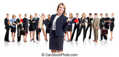 Business woman and people group - Group of employee people...