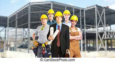 Group of construction workers. - Group of builders workers....