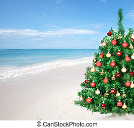 Christmas tree on the beach - Christmas tree over beach...