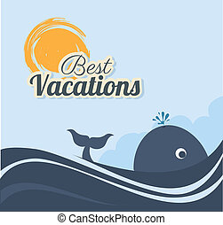 summer design - summer design over sky background vector...