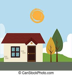 home design over sky background vector illustration