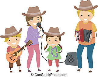 Country Band Family - Illustration of a Family Performing as...