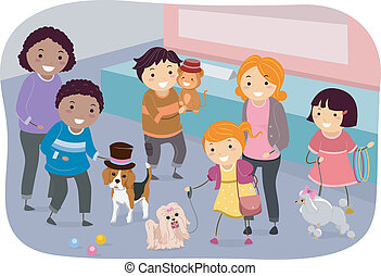 Family Pet Show - Illustration of a Family Showing Off Their...