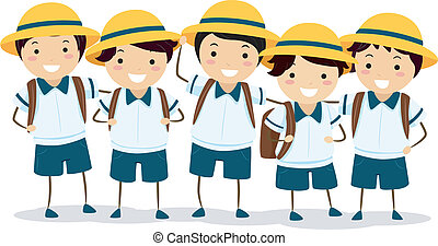 Japanese Grade Schoolers - Illustration of a Group of...