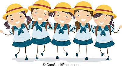 Japanese Girls Students - Illustration of a Group of...