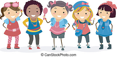 Girls Clothes - Illustration of Little Girls Wearing...