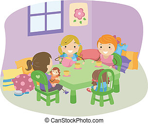 Tea Party Girls - Illustration of LIttle Girls Having a Tea...