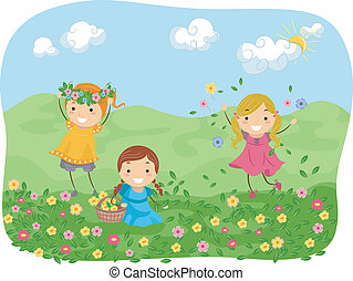 Flower Girls - Illustration of Girls Playing with Flowers in...