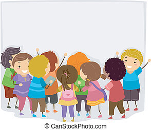 Bulletin Announcement - Illustration of Kids Checking Out...