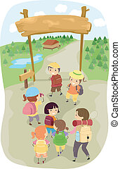 Camping Kids - Illustration of Kids Entering a Camp Site