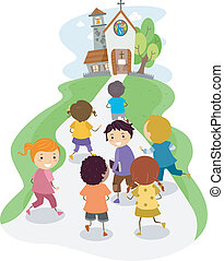 Church Kids - Illustration of Kids Heading Towards the...