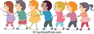 Conga Line Kids - Illustration of a Group of Kids Forming a...