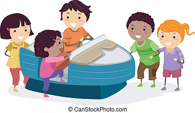 Motorboat Kids - Illustration of Kids Riding an Arcade...