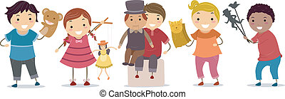 Puppet Kids - Illustration of Kids Playing With Puppets