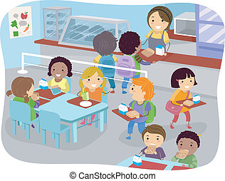 Canteen Kids - Illustration of Kids in a Canteen Buying and...