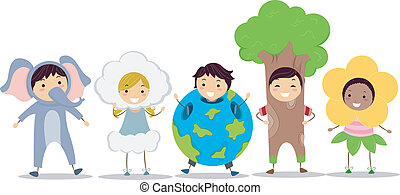 Nature Costume - Illustration of Kids Wearing Nature-Related...