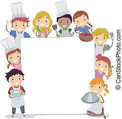 Cooking Classes Board - Illustration of Kids Holding Cooking...