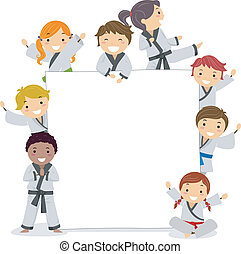 Karate Kids - Illustration of Kids Wearing Karate Uniforms...