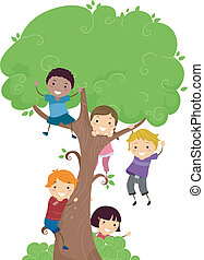 Tree Kids - Illustration of Kids Hanging from a Tree