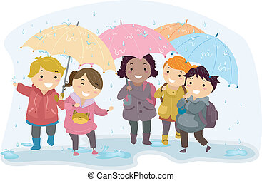 Umbrella Kids - Illustration of Kids Holding Umbrellas While...