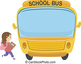 School Bus Kid - Illustration of a Little Girl About to...