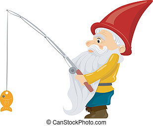 Fishing Gnome - Illustration of a Gnome Holding a Fishing...