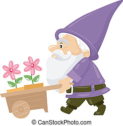 Flower Gnome - Illustration of a Gnome Pushing a Cart...