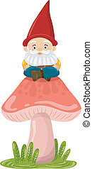 Mushroom Gnome - Illustration of a Gnome Sitting on Top of a...