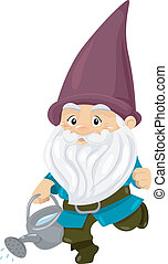 Gnome Watering Can - Illustration of a Gnome Carrying a...