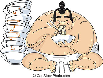 Sumo Wrestler Ramen - Illustration of a Sumo Wrestler...