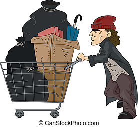 Homeless Man - Illustration of a Homeless Man Pushing a Cart...