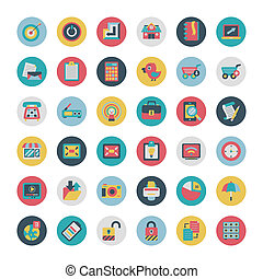 Retro flat  network icons vector collection