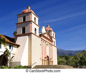 Mission Santa Barbara - Side front view of the old Spanish...