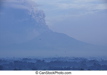 View of active volcano at morning