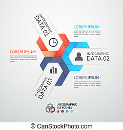 Modern business step origami style options banner, vector...