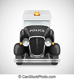 Retro car icon - Police With Flashing Lights Retro Car Icon,...