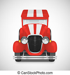 Retro car icon - Red Fire Truck Retro Car Icon, Vector...