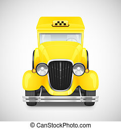 Retro car icon - Yellow Taxi Retro Car Icon, Vector...