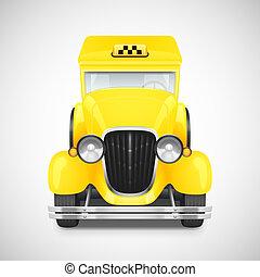 Retro car icon - Yellow Taxi Retro Car Icon, Vector...