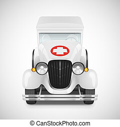 Retro car icon - White Ambulance Retro Car Icon, Vector...