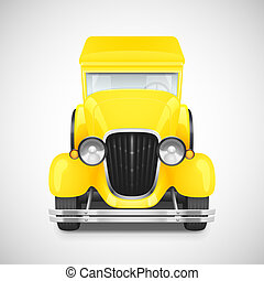 Retro car icon - Retro Car Icon, Yellow Color, Vector...